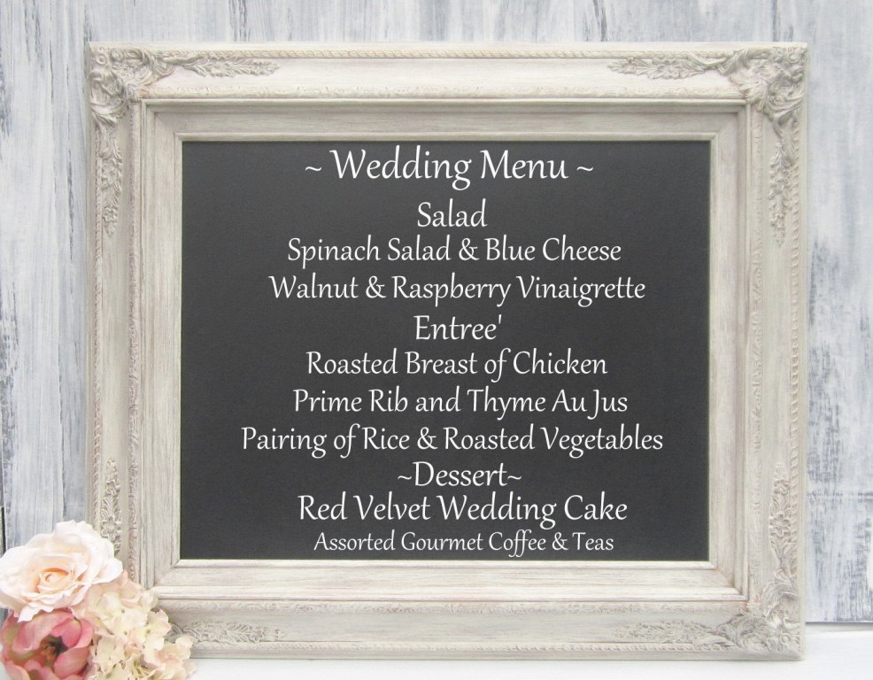 Image of: Chalkboard Wedding Menu