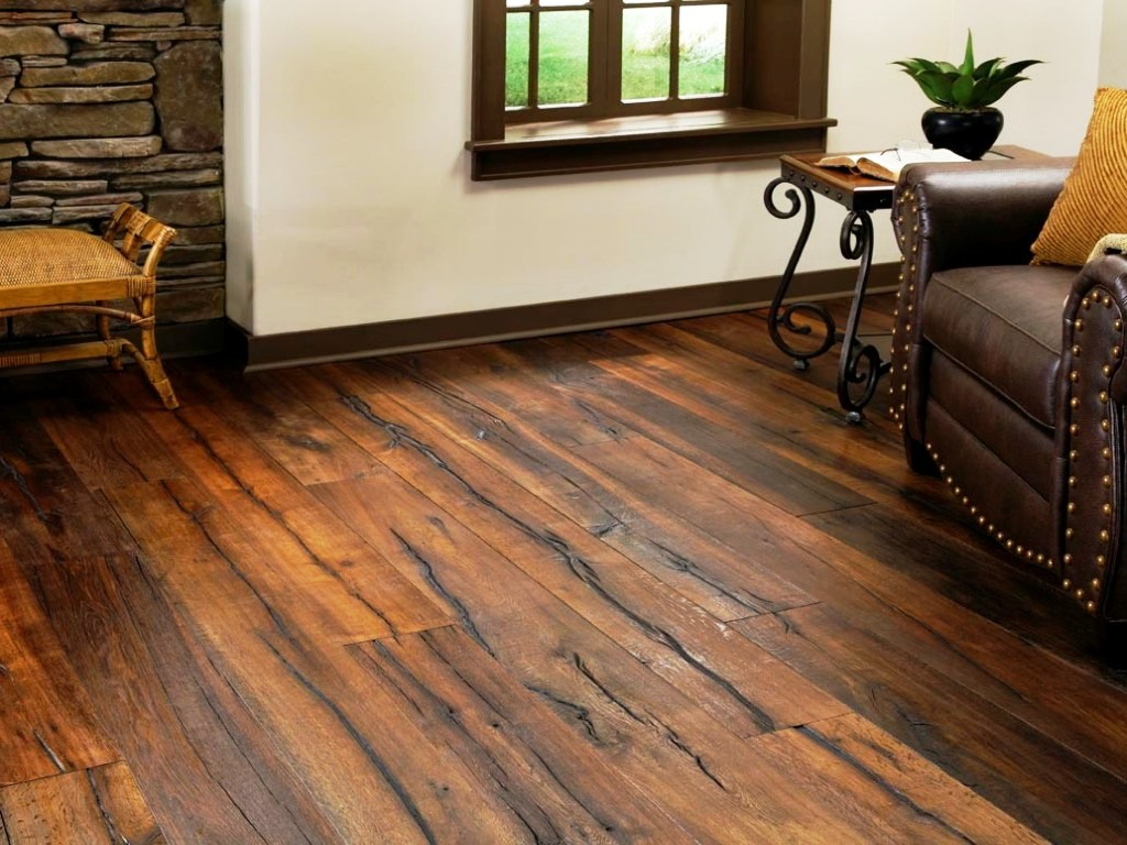 Image of: Distressed Hickory Hardwood Flooring