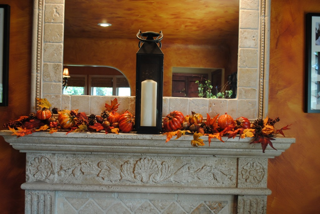 Image of: Fall Mantels Decorating