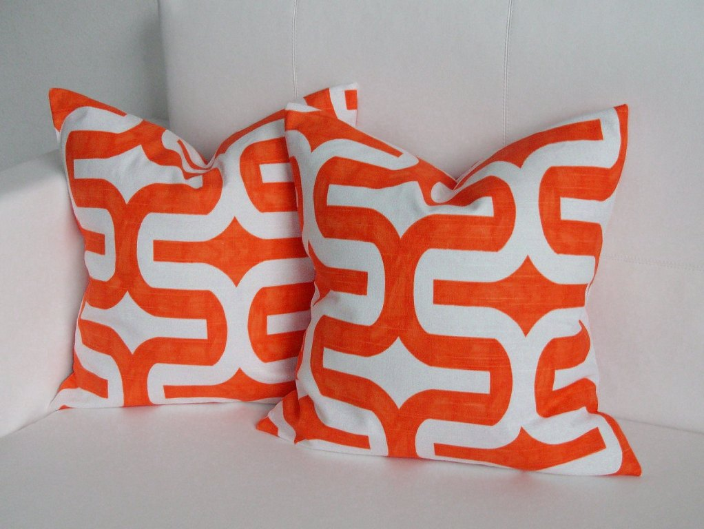 Image of: Orange Throw Pillows