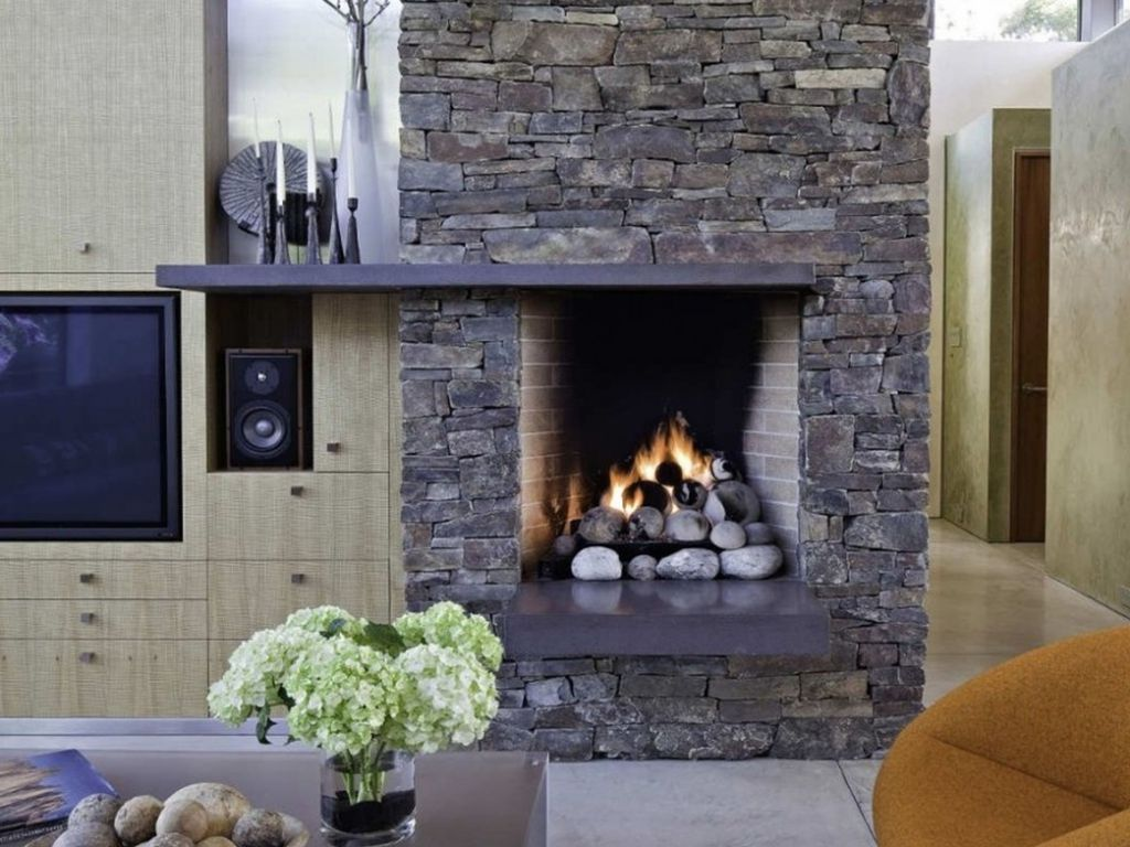 Image of: Stone Fireplace Decor