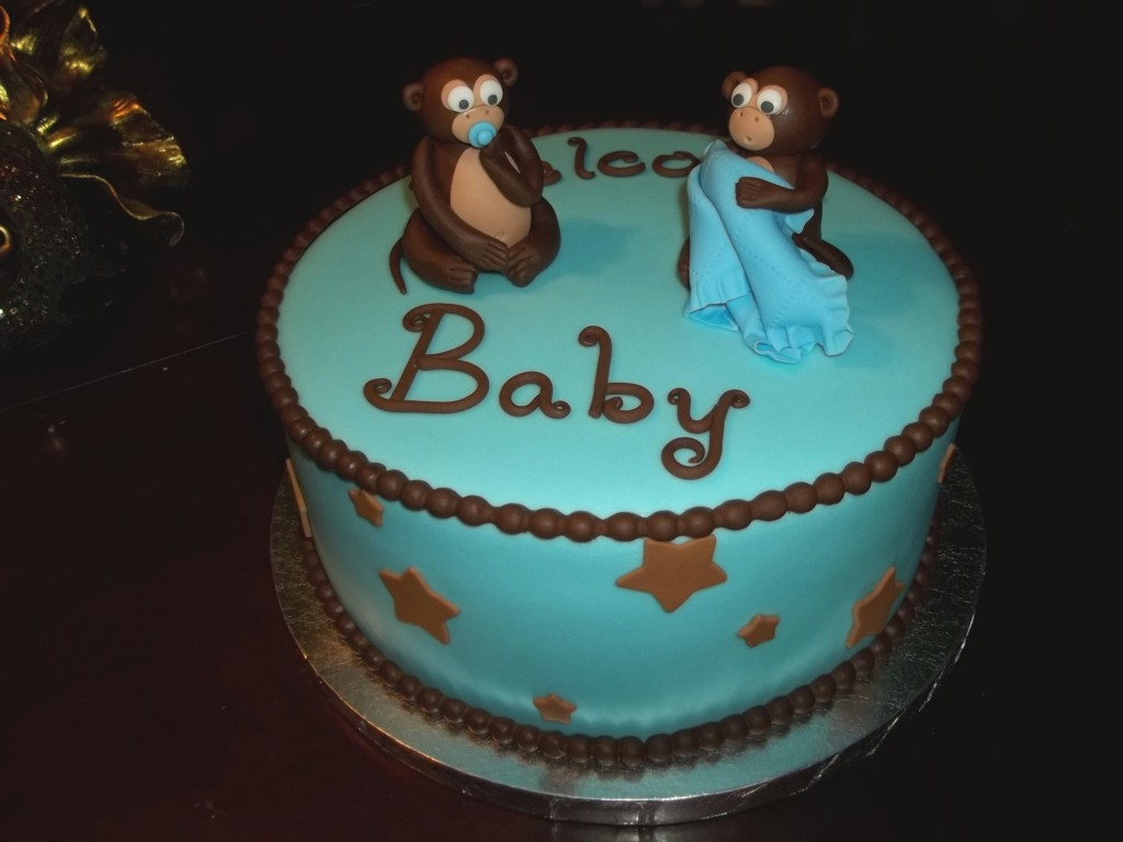 Image of: Baby Monkey Baby Shower Cakes