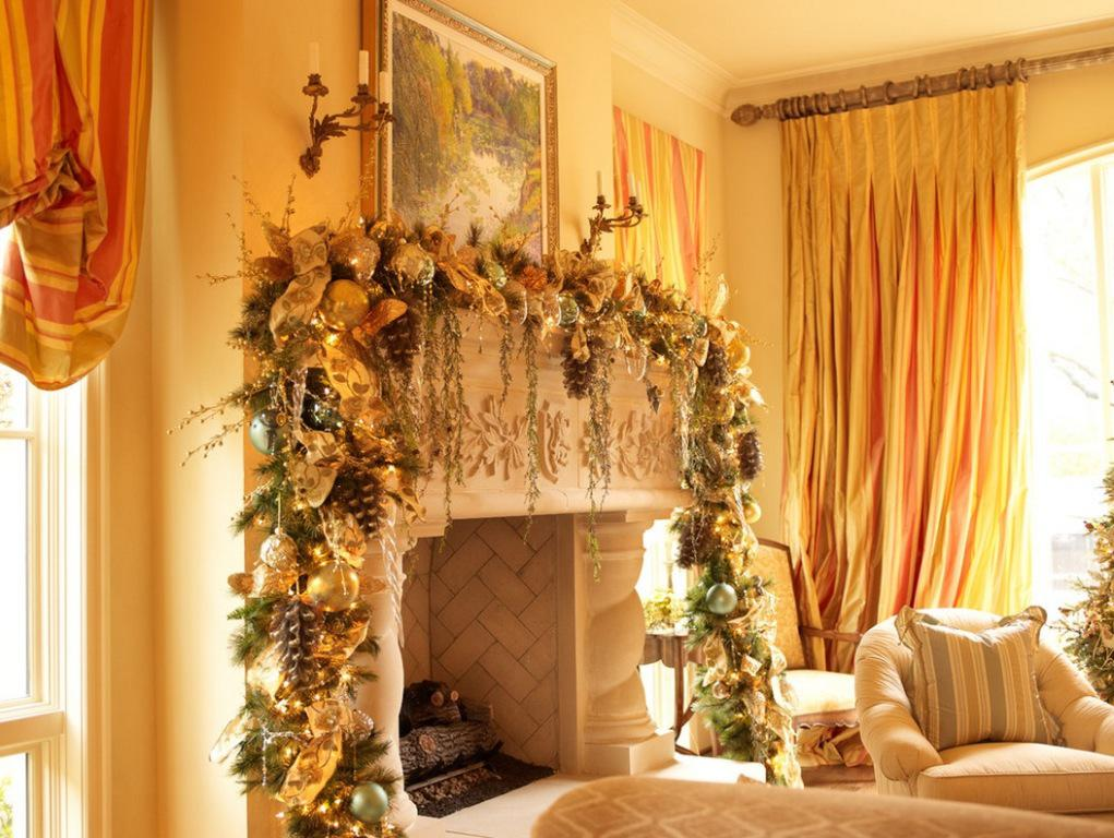 Image of: Christmas Mantel Decorating Pictures