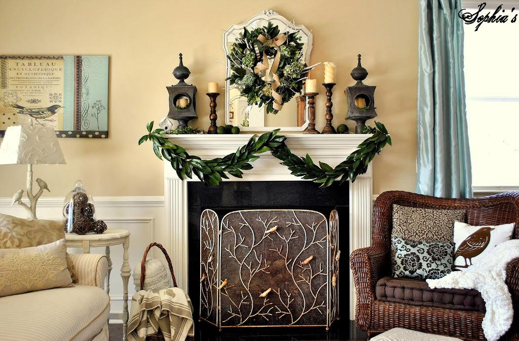 Image of: Christmas Mantel Decorations Pictures
