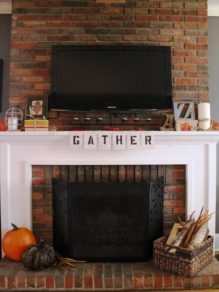 Image of: Fireplace Mantel Decor With Tv