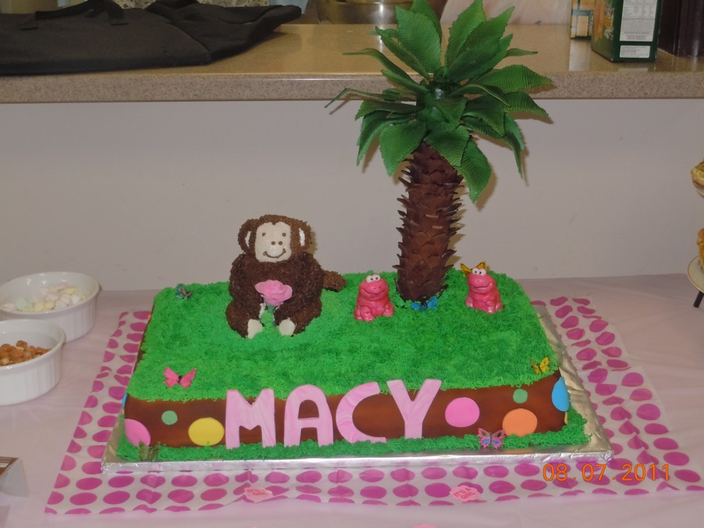 Image of: Girl Monkey Baby Shower Cake