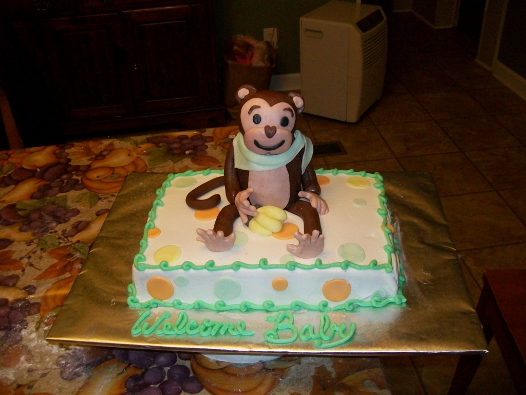 Image of: Monkey Baby Shower Cake Decorations