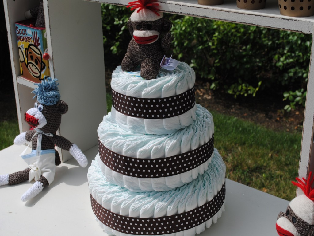Image of: Monkey Baby Shower Cake