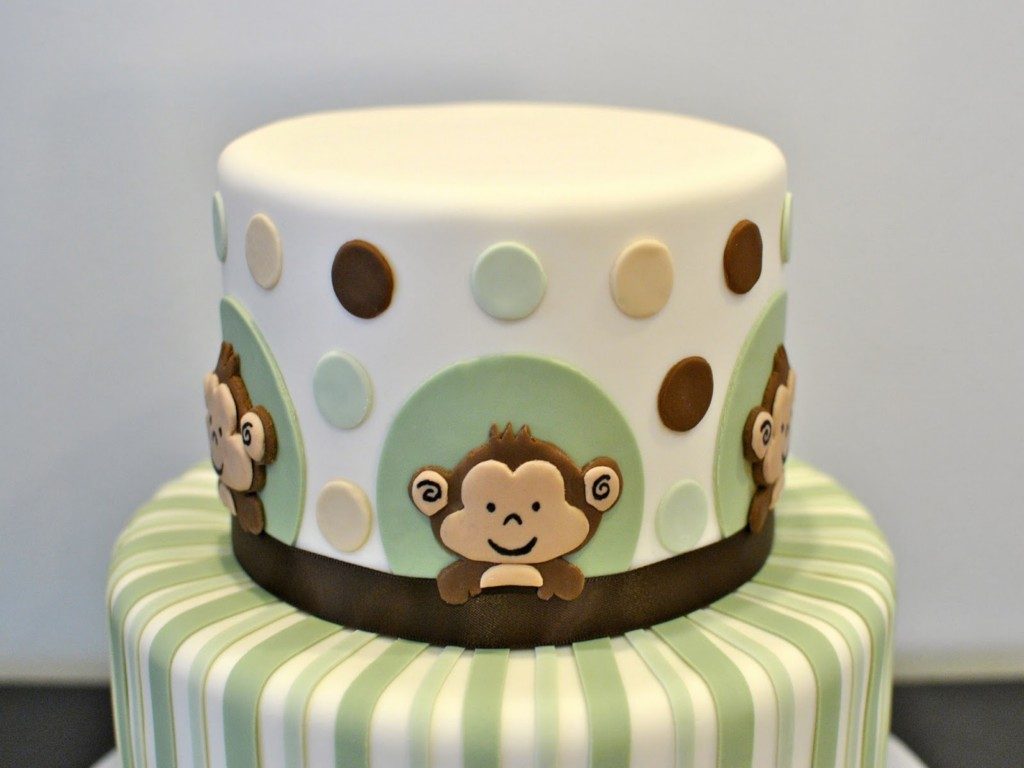 Image of: Monkey Baby Shower Cakes