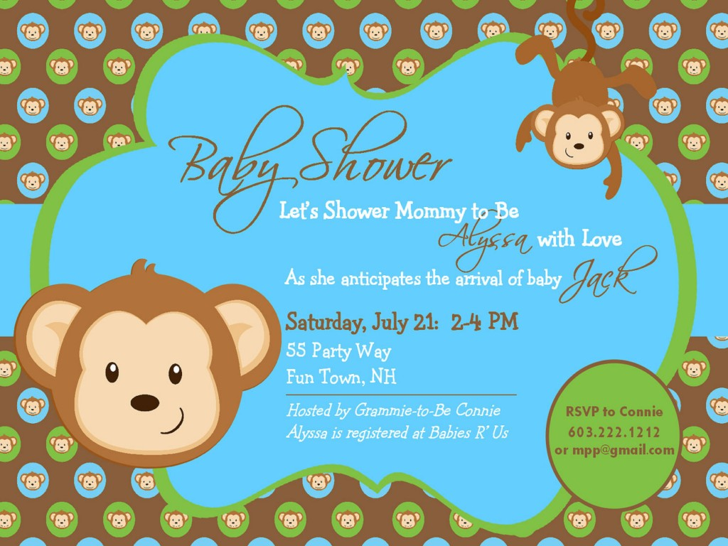 Image of: Monkey Boy Baby Shower Invitations
