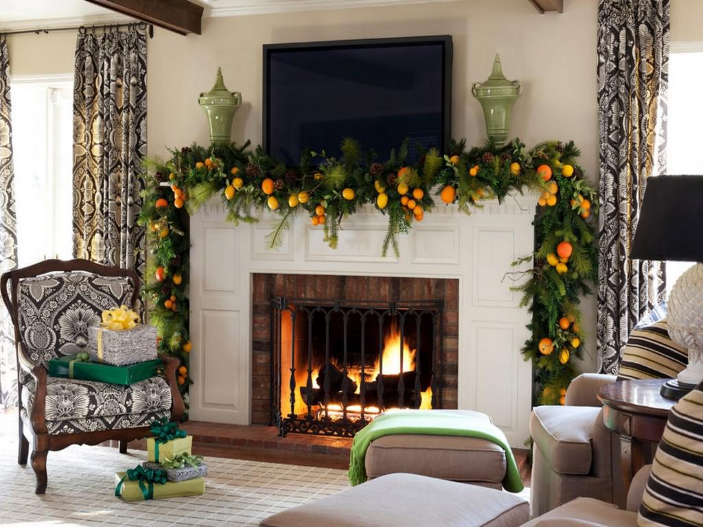 Image of: Decorate Christmas Mantel Fireplace