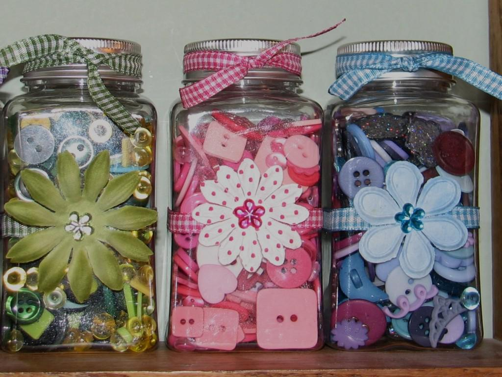 Floral Themed Decorative Glass Jars