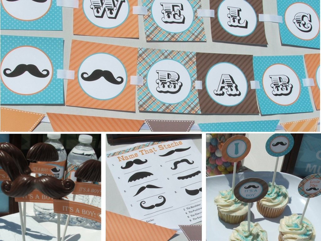 Image of: Little Man Mustache Baby Shower Ideas