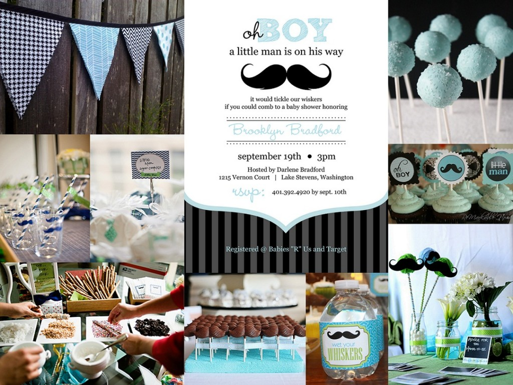 Image of: Mustache Baby Shower Decorations