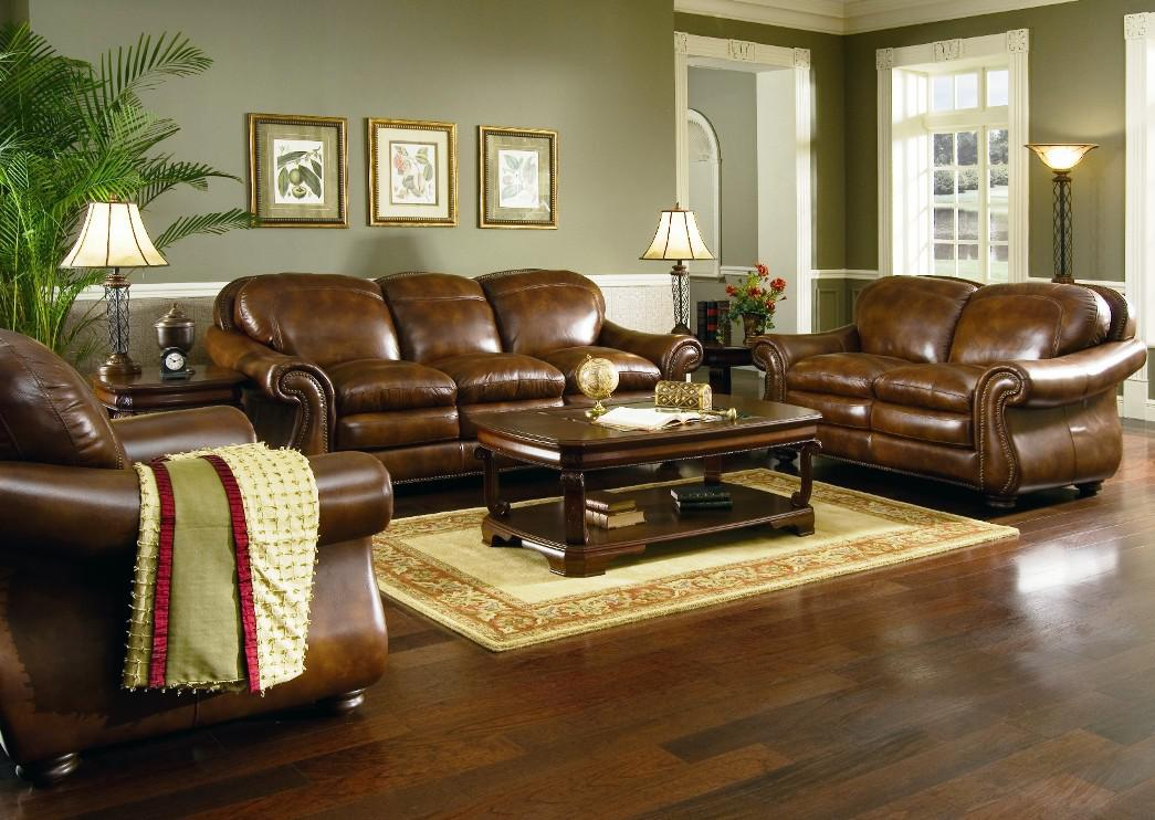Image of: Amazing Leather Living Room Sets