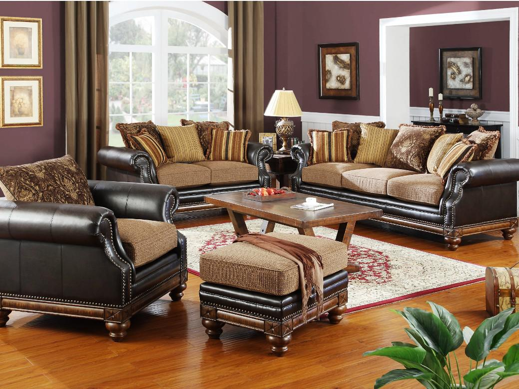 Image of: Brown Leather Living Room Set