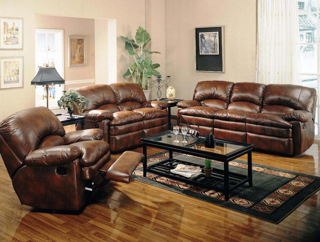 Image of: Charming Leather Living Room Sets