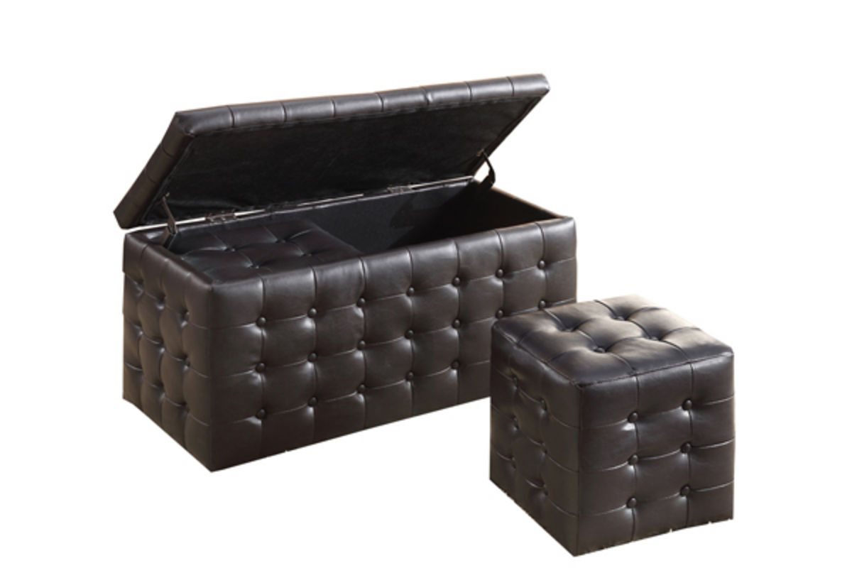 Image of: Black Leather Ottoman Coffee Table