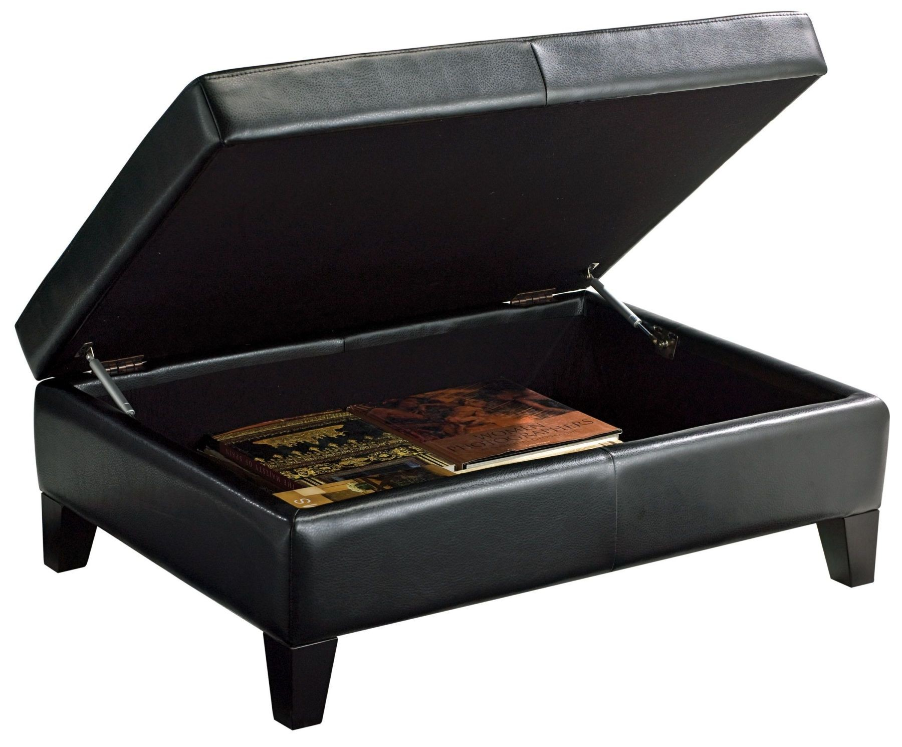 Image of: Black Leather Storage Bench