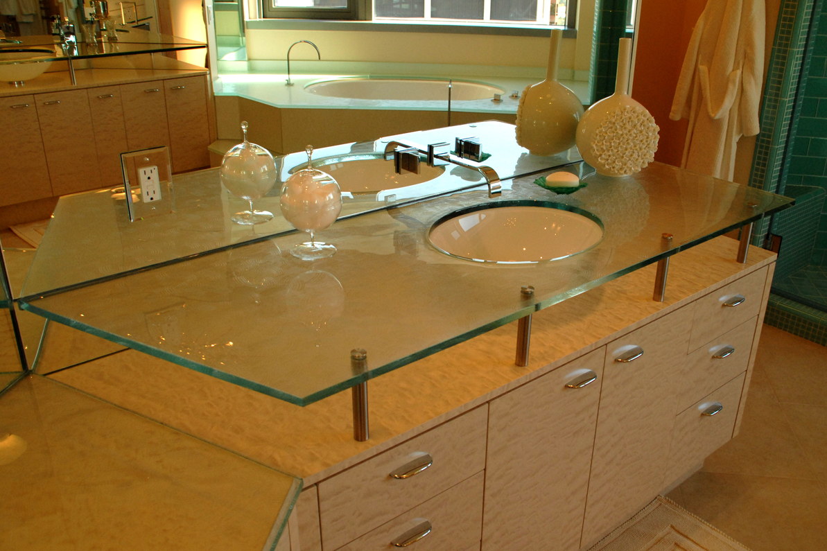 Image of: Glass Kitchen Countertops
