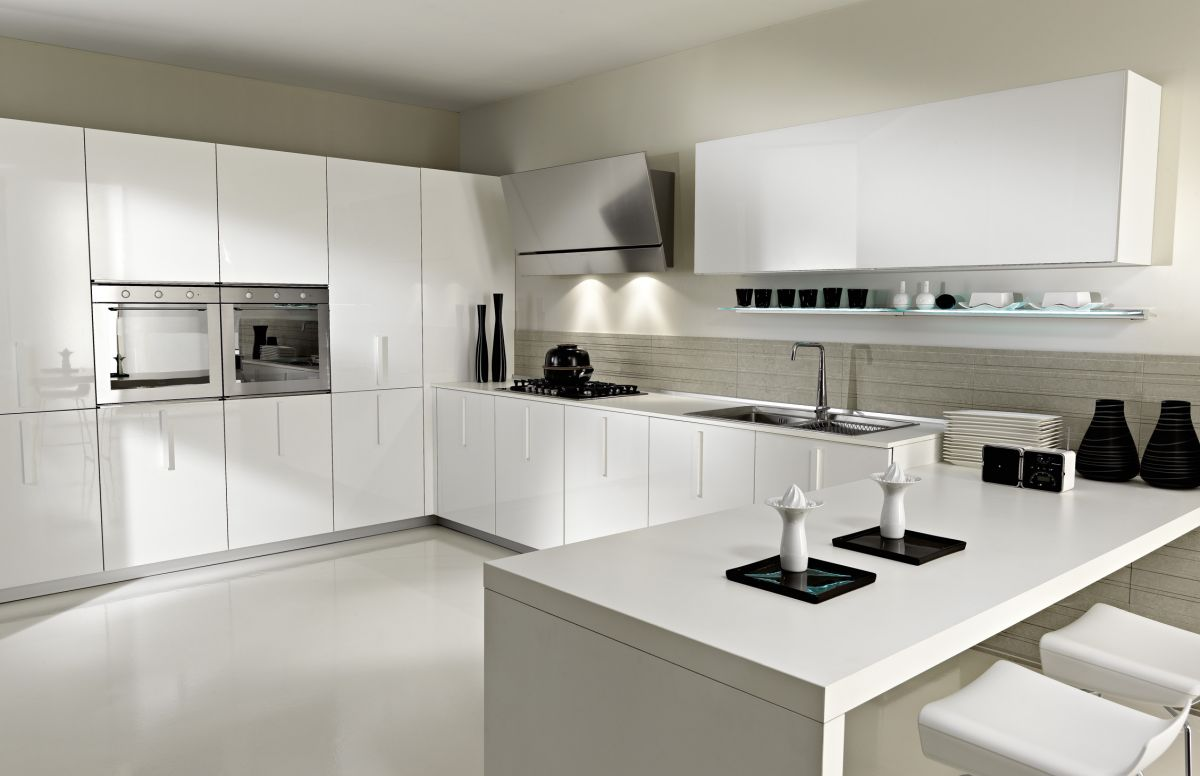 Image of: White Contemporary Kitchen Decor Ideas