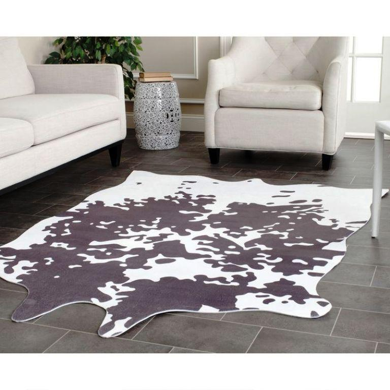 Image of: Faux Cowhide Rug Brown and White