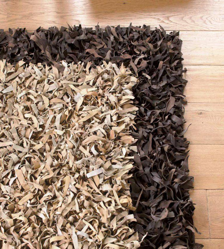 Image of: Leather Shag Rug