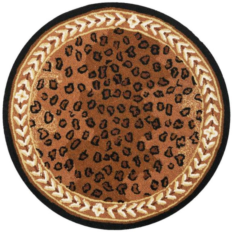 Image of: Round Leopard Rug