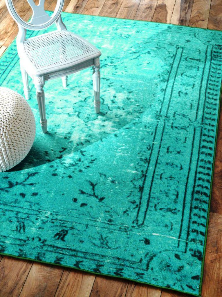 Image of: Teal Overdyed Rugs