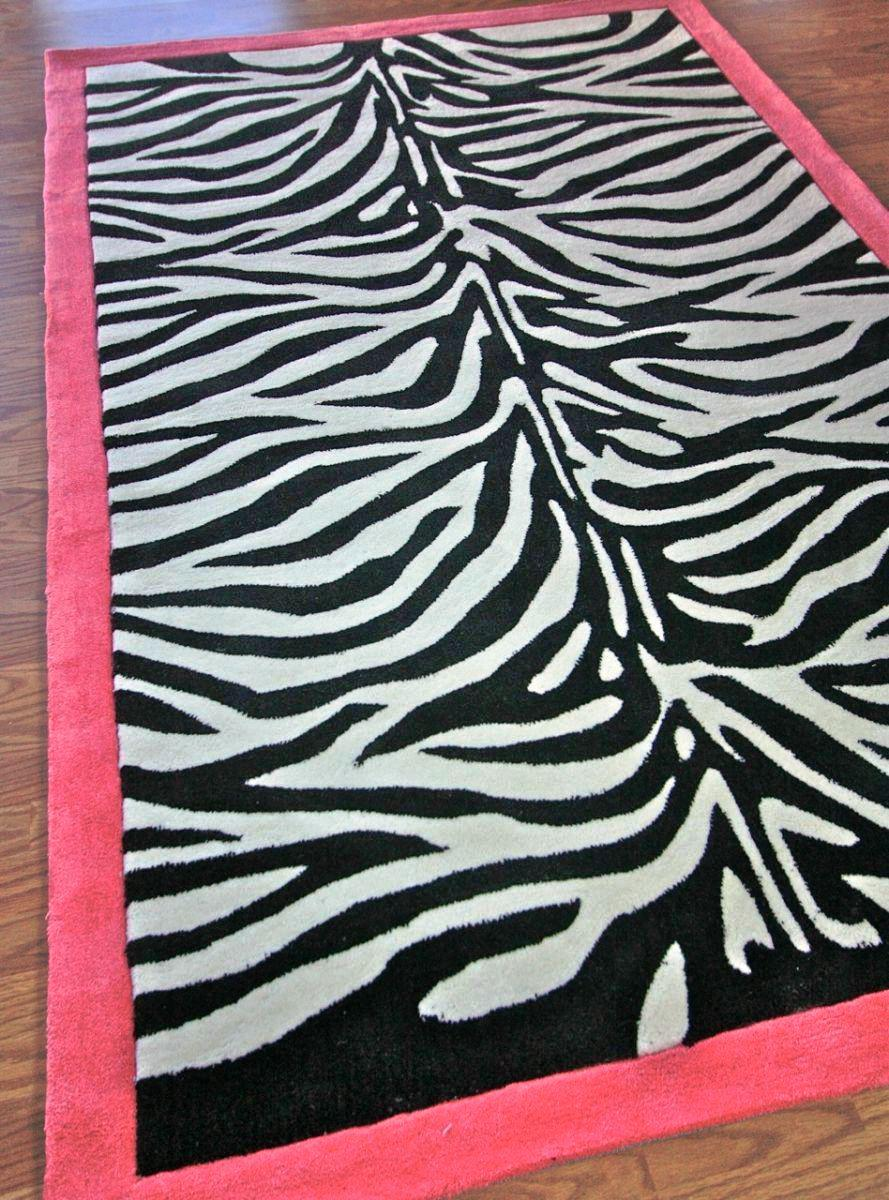 Image of: Zebra Print Rug With Pink Trim