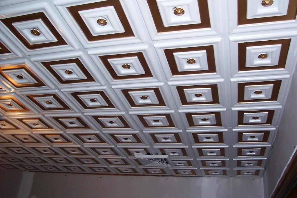 Image of: Faux Tin Drop Ceiling Tiles