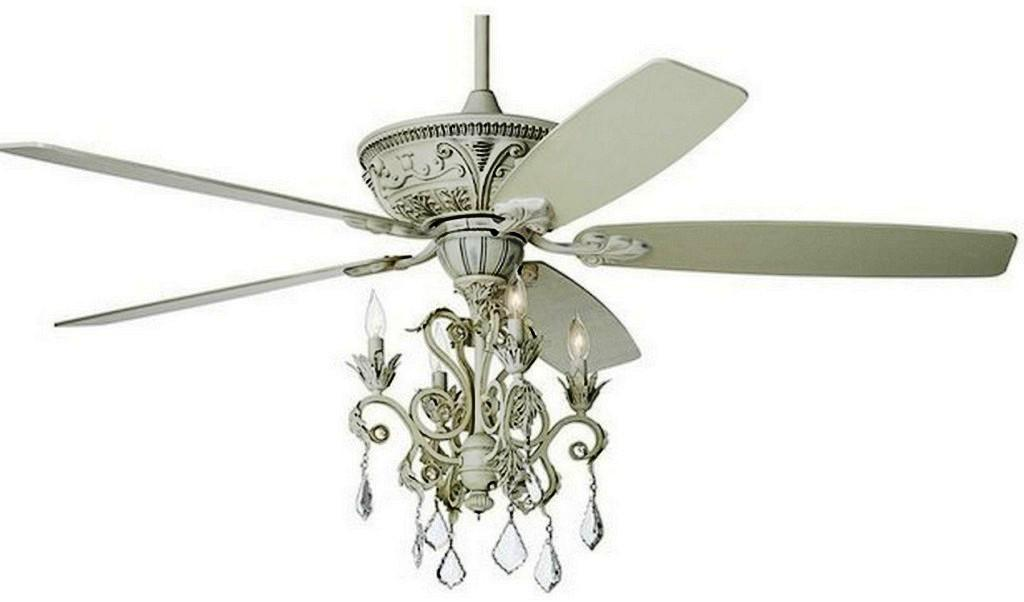 Image of: White Chandelier Ceiling Fan