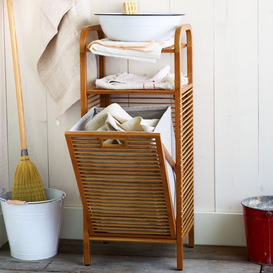 Image of: Bamboo Tilt Out Laundry Hamper