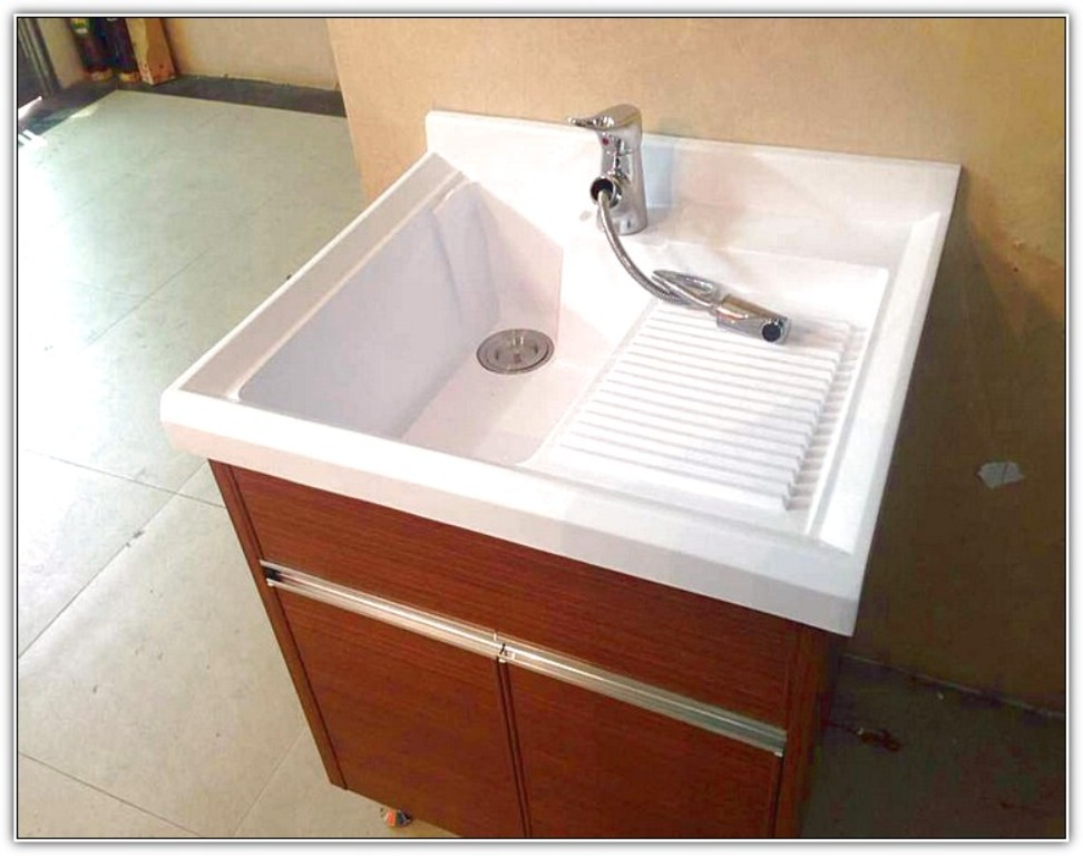 Image of: drop in laundry sink and washer drain pipe overflow