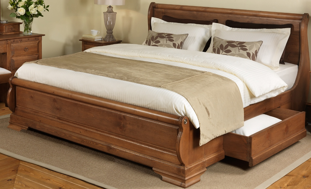 Image of: full size wood bed frame plans