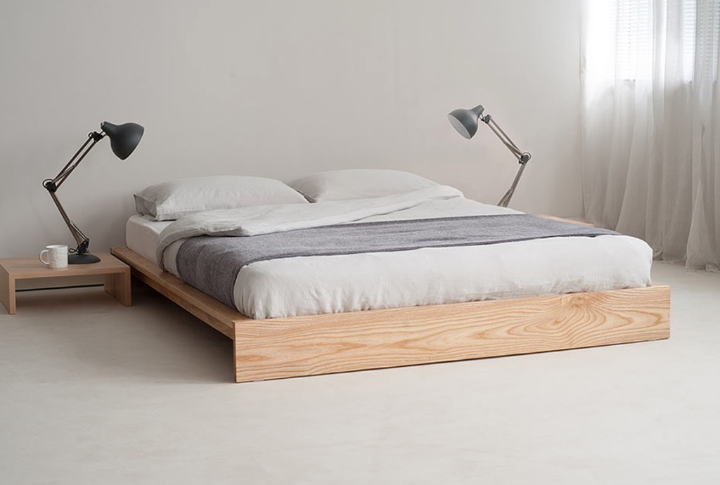 Image of: full size wood bed frame without headboard