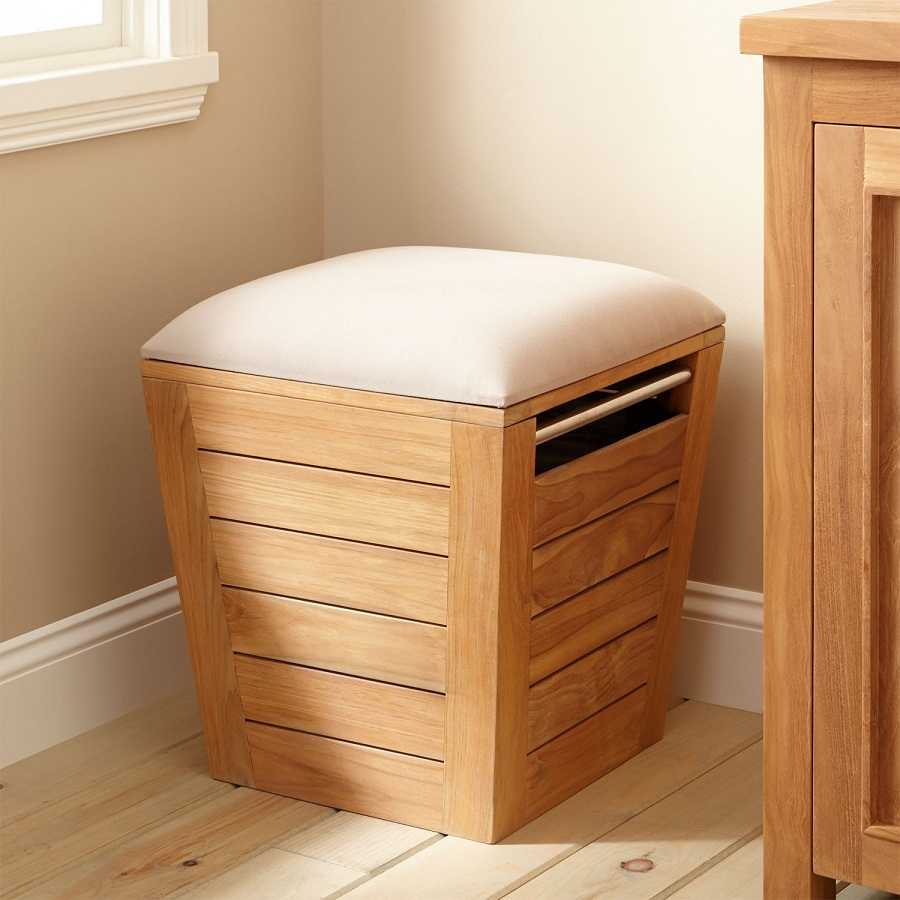 Image of: Large Laundry Hamper Teak
