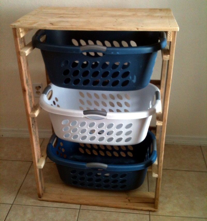 Image of: Narrow Laundry Hamper Rack