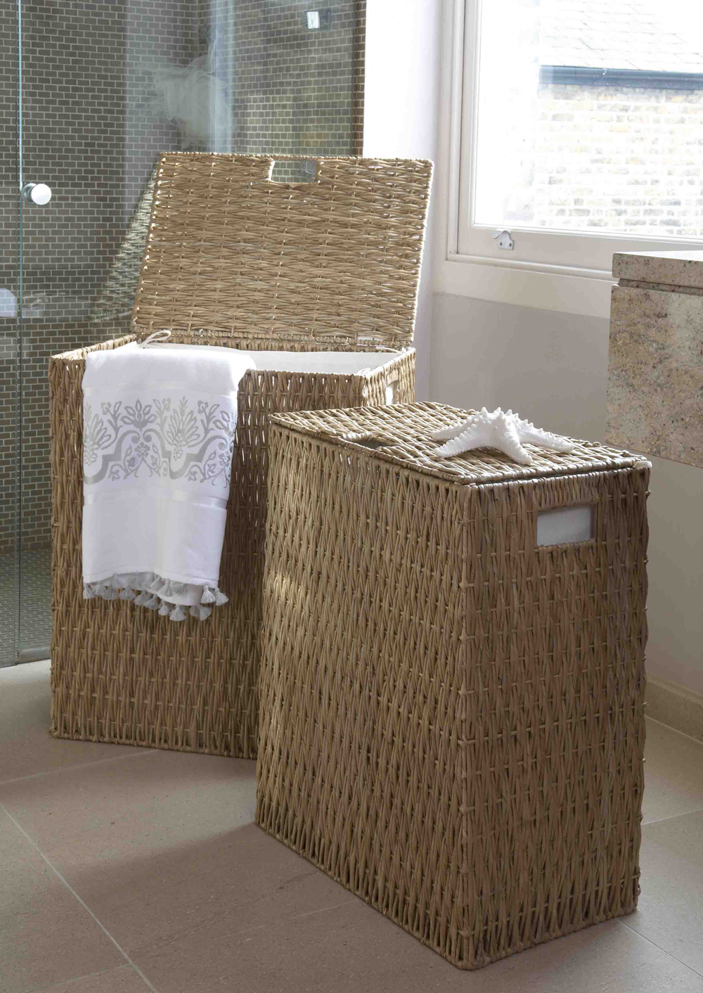 Image of: narrow laundry hamper rattan