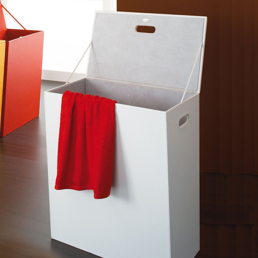 Image of: Narrow Laundry Hamper White