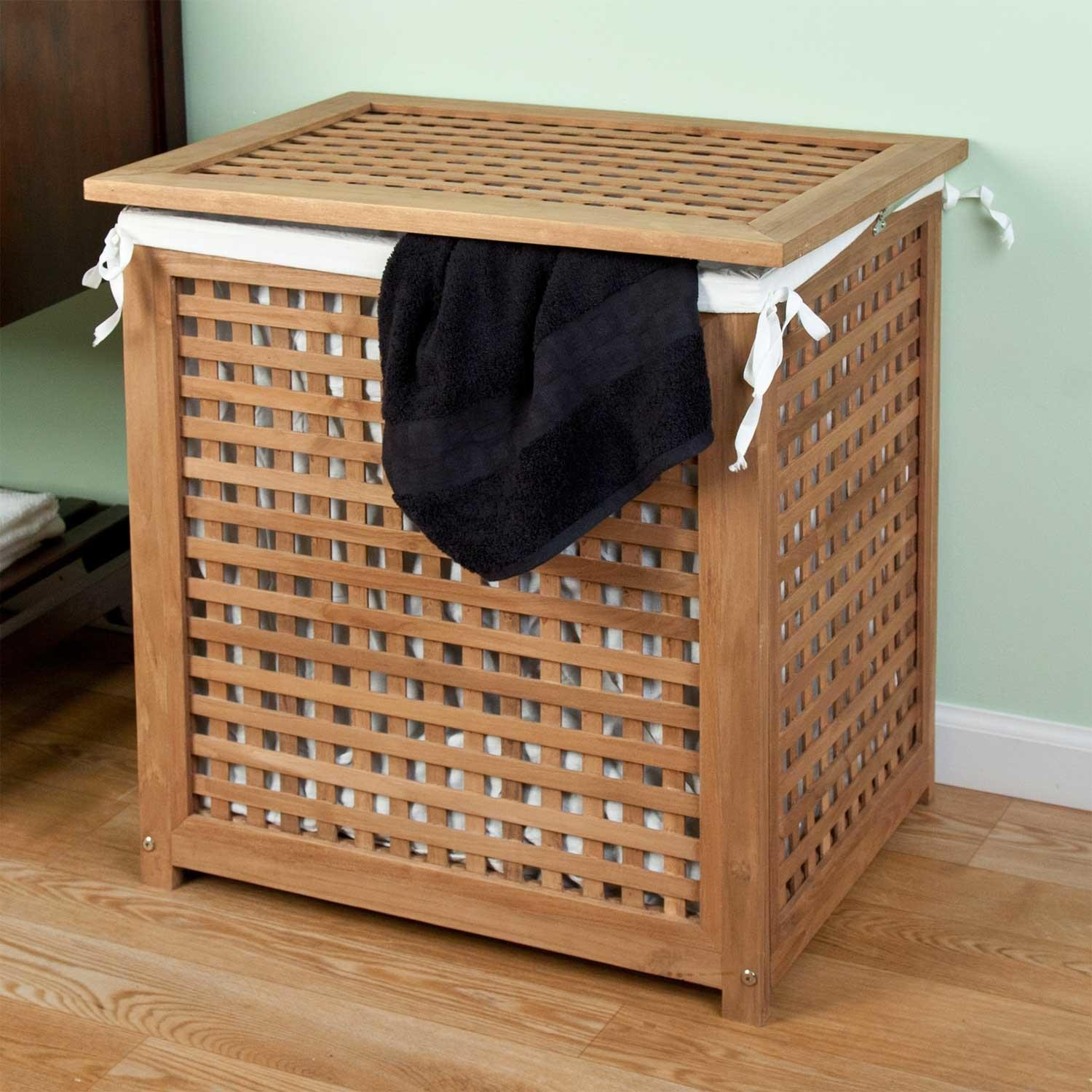Image of: Teak Laundry Hamper with Lid
