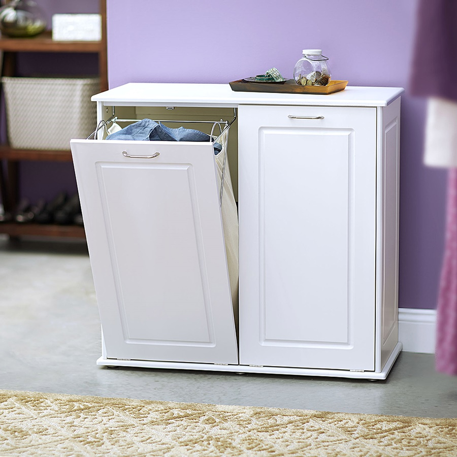 white-tilt-out-laundry-hamper