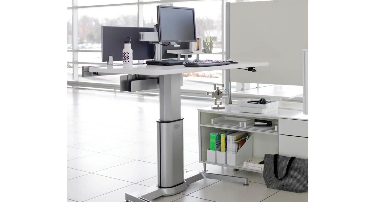 Image of: Adjustable Height Computer Desk Stand
