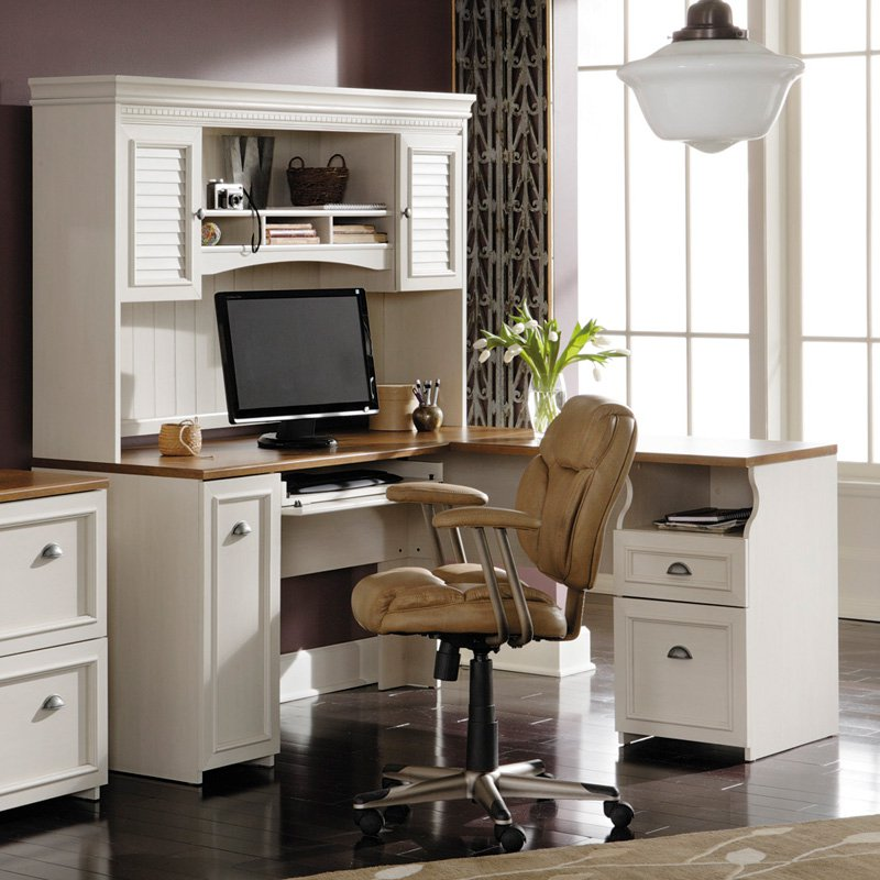 Image of: Antique White Desk with Hutch Computer