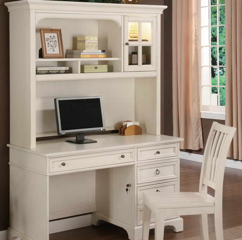 Image of: Antique White Desk With Hutch Home