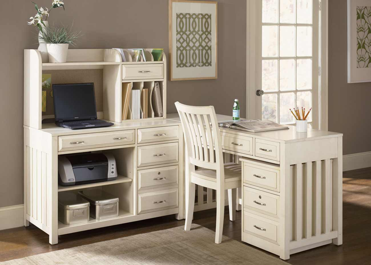 Image of: Antique White Desk With Hutch Shapes