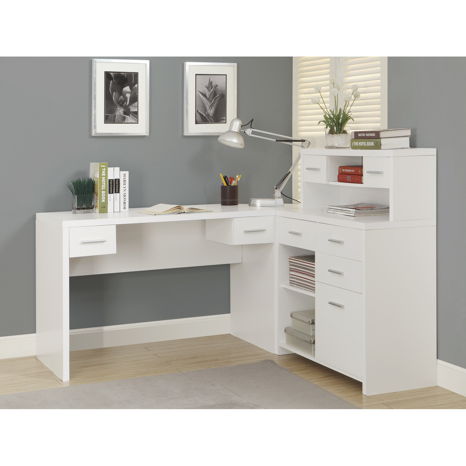 Image of: Antique White Desk with Hutch Study