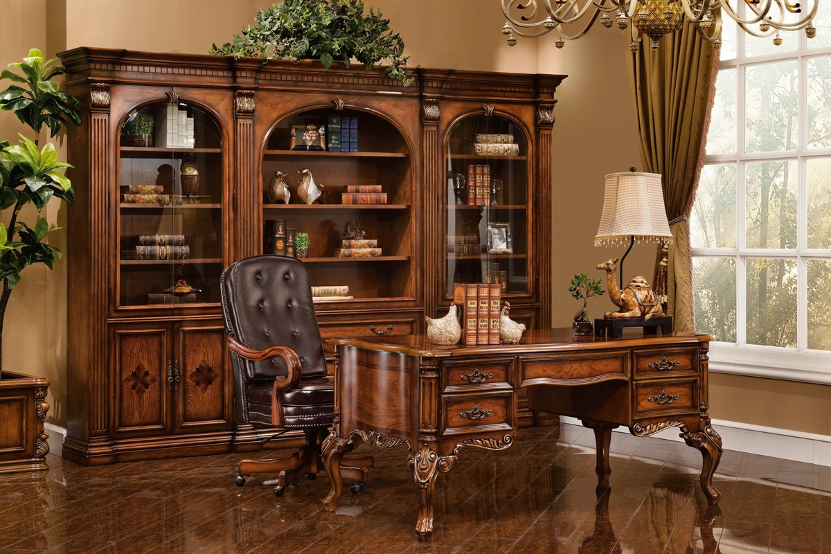 Image of: Beautiful Antique Executive Desk