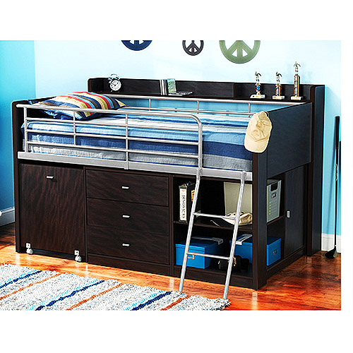 Image of: Bunk Beds with Desk and Storage Dark