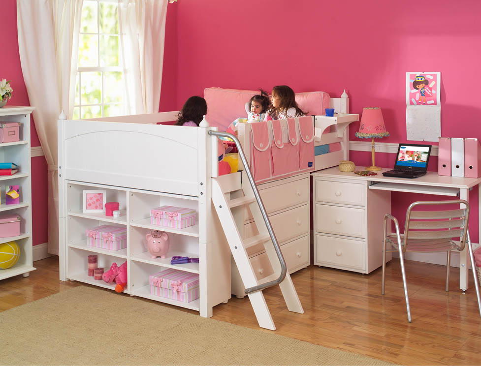 Image of: Bunk Beds with Desk and Storage Girly
